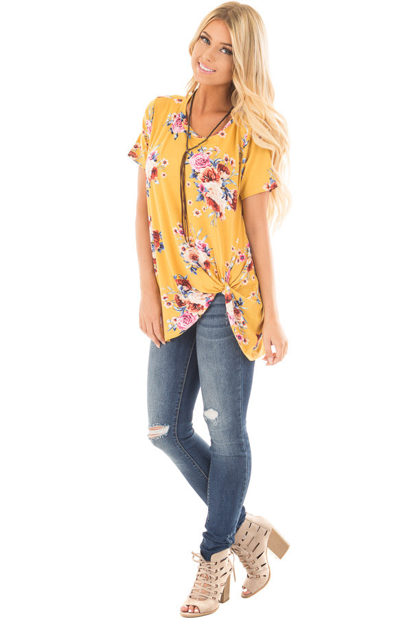 Marigold Floral Print Tee Shirt with Twist Front Detail front full body