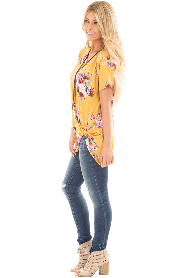Marigold Floral Print Tee Shirt with Twist Front Detail side full body
