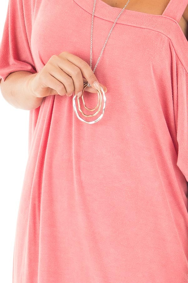 Dusty Coral Mineral Wash One Shoulder Relaxed Tee Shirt front detail