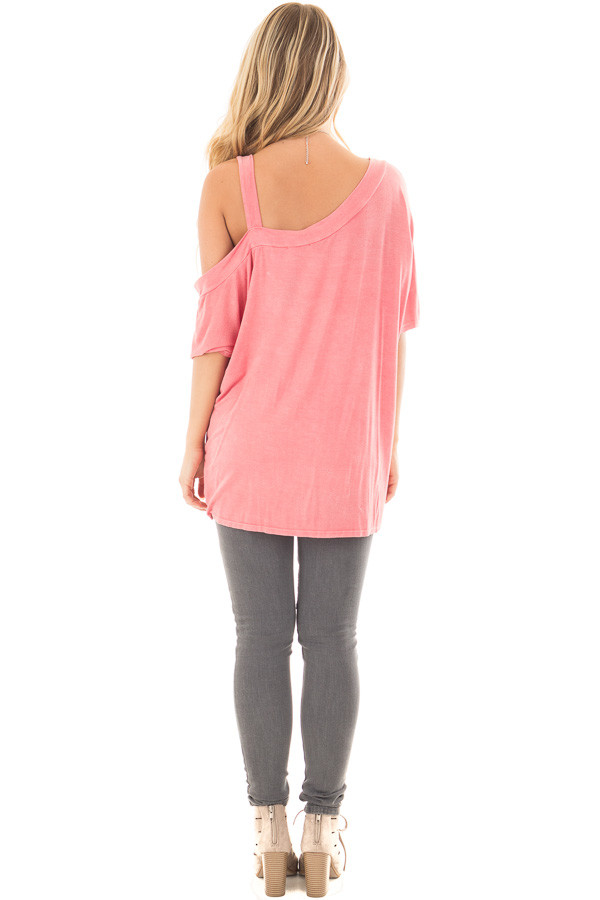 Dusty Coral Mineral Wash One Shoulder Relaxed Tee Shirt back full body