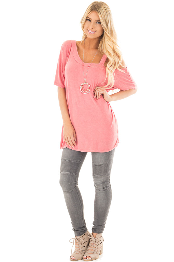 Dusty Coral Mineral Wash One Shoulder Relaxed Tee Shirt front full body