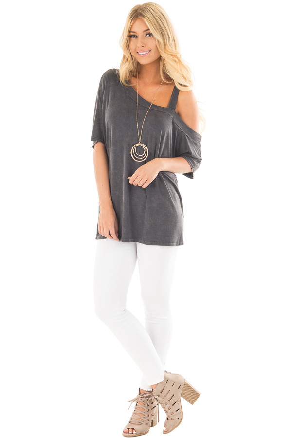 Charcoal Mineral Wash One Shoulder Relaxed Tee Shirt front full body