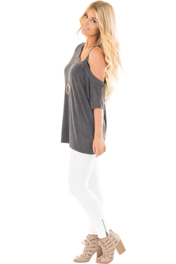 Charcoal Mineral Wash One Shoulder Relaxed Tee Shirt side full body