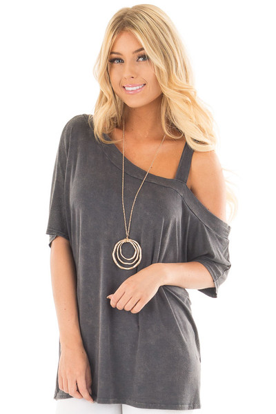Charcoal Mineral Wash One Shoulder Relaxed Tee Shirt front close up