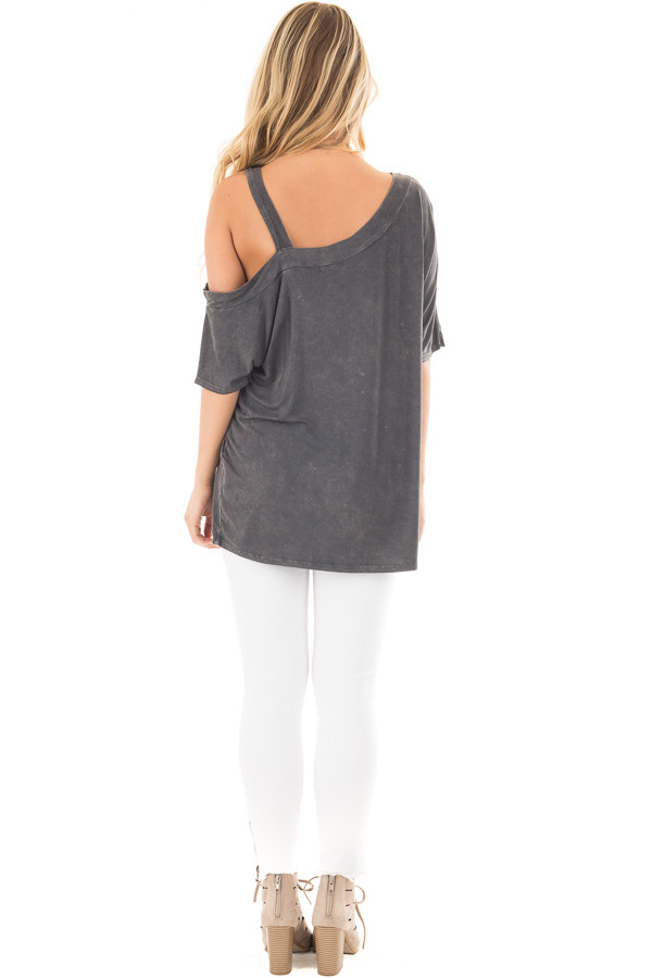 Charcoal Mineral Wash One Shoulder Relaxed Tee Shirt back full body