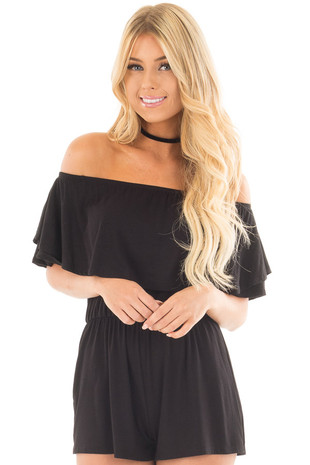 Black Off the Shoulder Short Sleeve Romper front close up