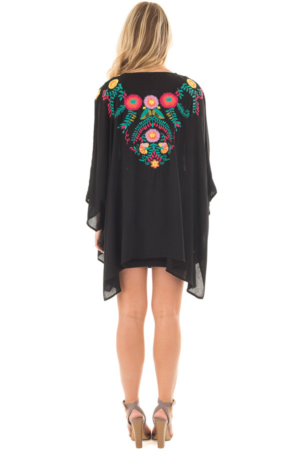 Black Open Drape Kimono with Detailed Colorful Embroidery back full body