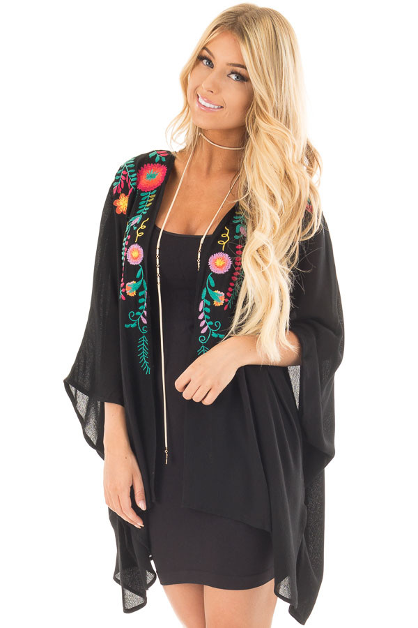 Black Open Drape Kimono with Detailed Colorful Embroidery front close up