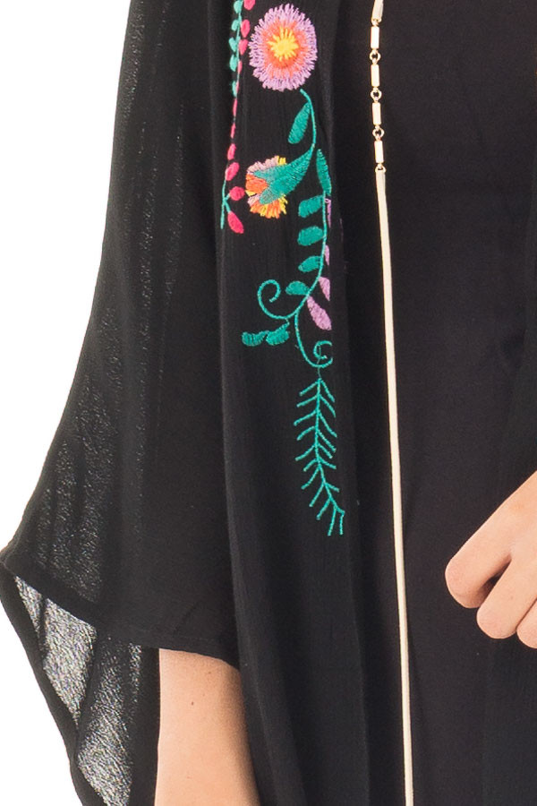 Black Open Drape Kimono with Detailed Colorful Embroidery front detail