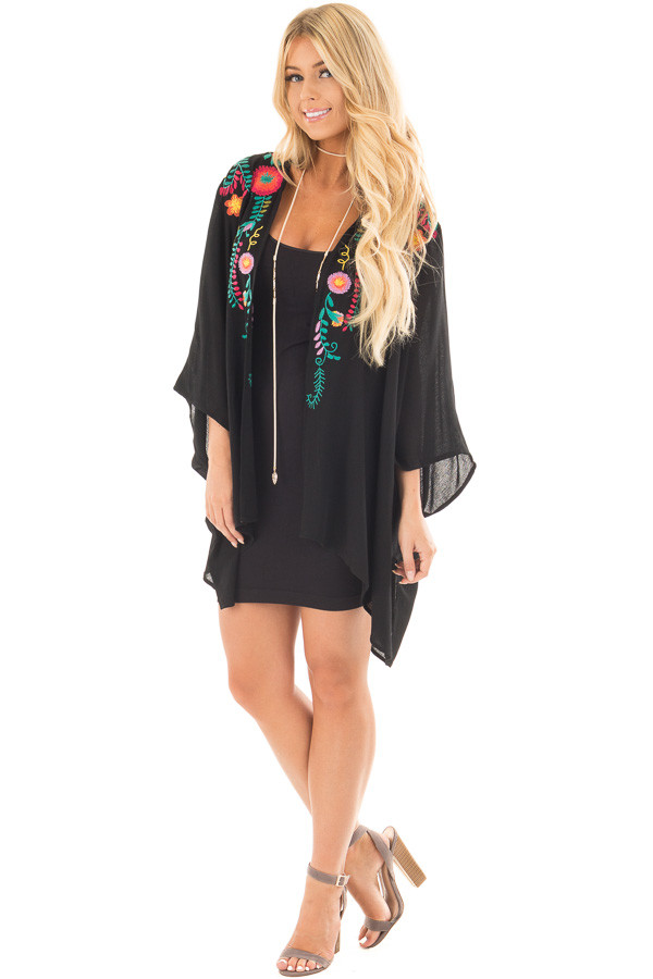 Black Open Drape Kimono with Detailed Colorful Embroidery front full body