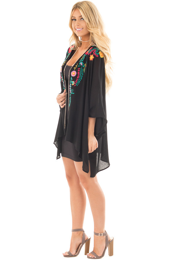 Black Open Drape Kimono with Detailed Colorful Embroidery side full body