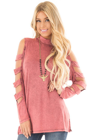 Marsala Mineral Wash Mock Neck Top with Ladder Cut Sleeves front close up