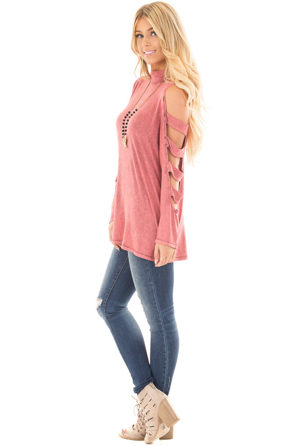 Marsala Mineral Wash Mock Neck Top with Ladder Cut Sleeves side full body