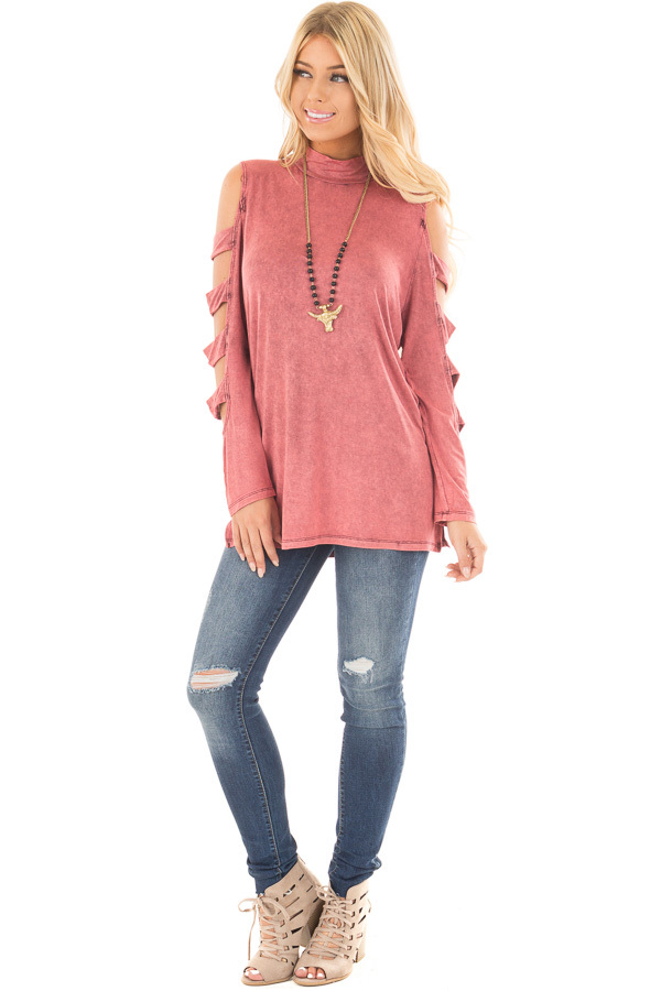 Marsala Mineral Wash Mock Neck Top with Ladder Cut Sleeves front full body