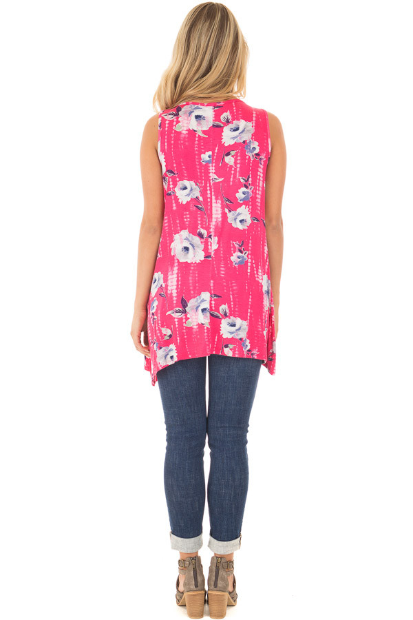 Fuchsia Tie Dye Floral Tunic Tank with Caged Neckline Detail back full body