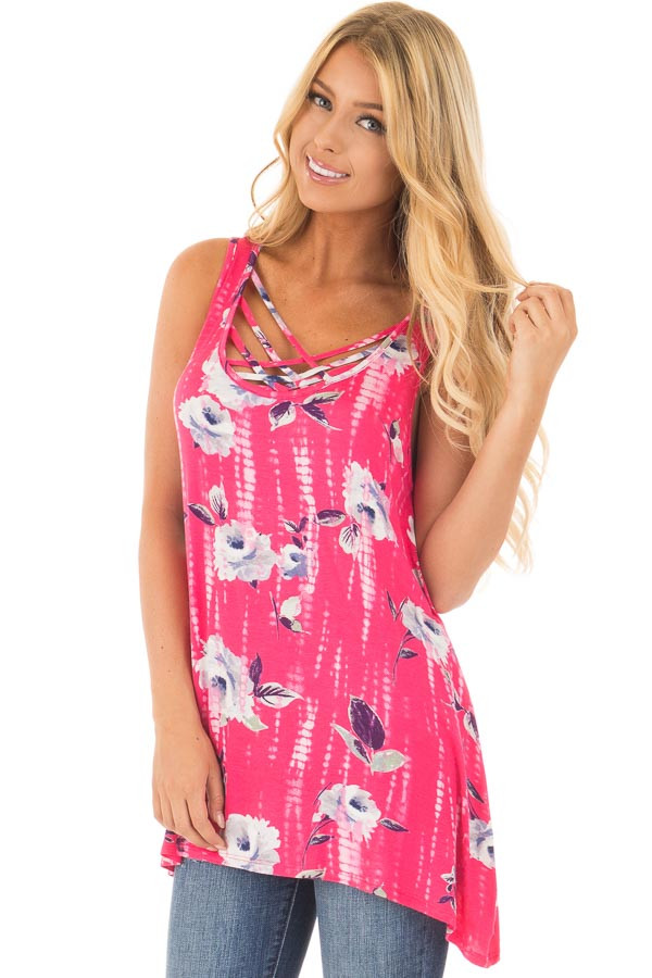 Fuchsia Tie Dye Floral Tunic Tank with Caged Neckline Detail front close up