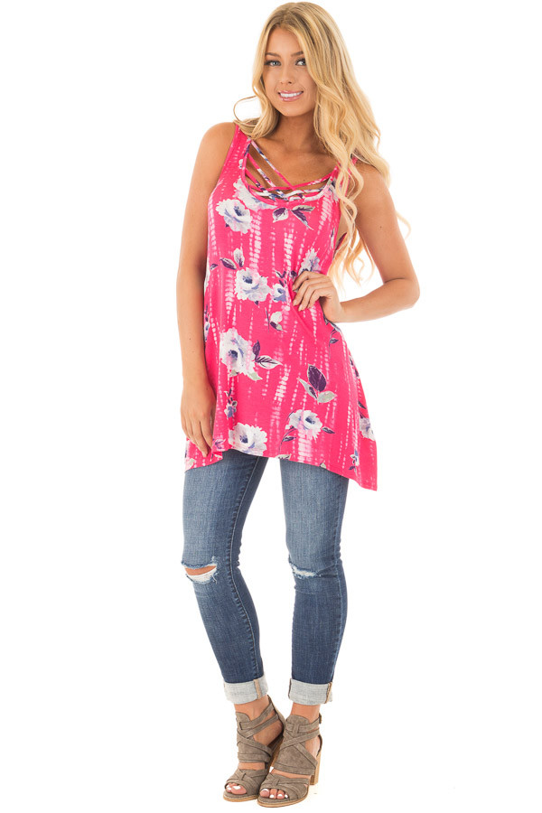 Fuchsia Tie Dye Floral Tunic Tank with Caged Neckline Detail front full body