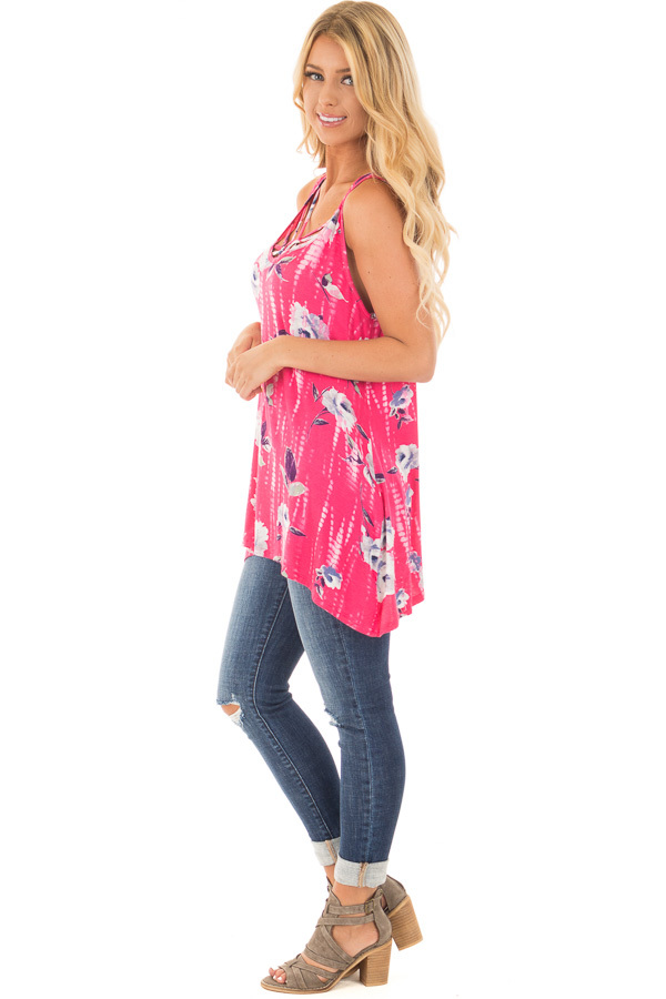 Fuchsia Tie Dye Floral Tunic Tank with Caged Neckline Detail side full body