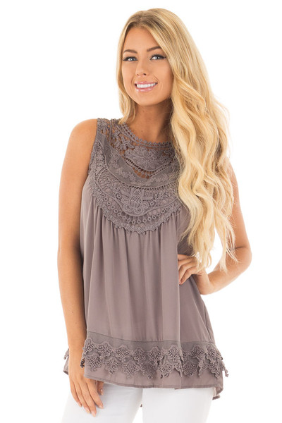 Charcoal Chiffon Blouse with Detailed Crochet Neckline front close up