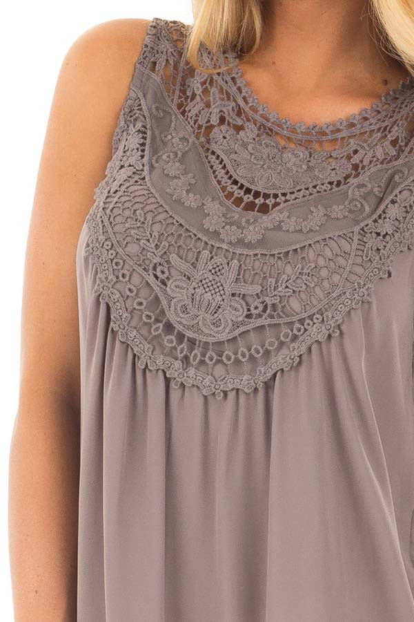 Charcoal Chiffon Blouse with Detailed Crochet Neckline detail