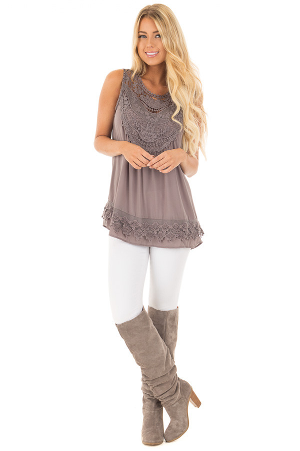 Charcoal Chiffon Blouse with Detailed Crochet Neckline front full body