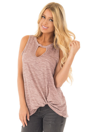 Mauve Two Tone Tank with Keyhole Neckline and Twisted Hem front close up