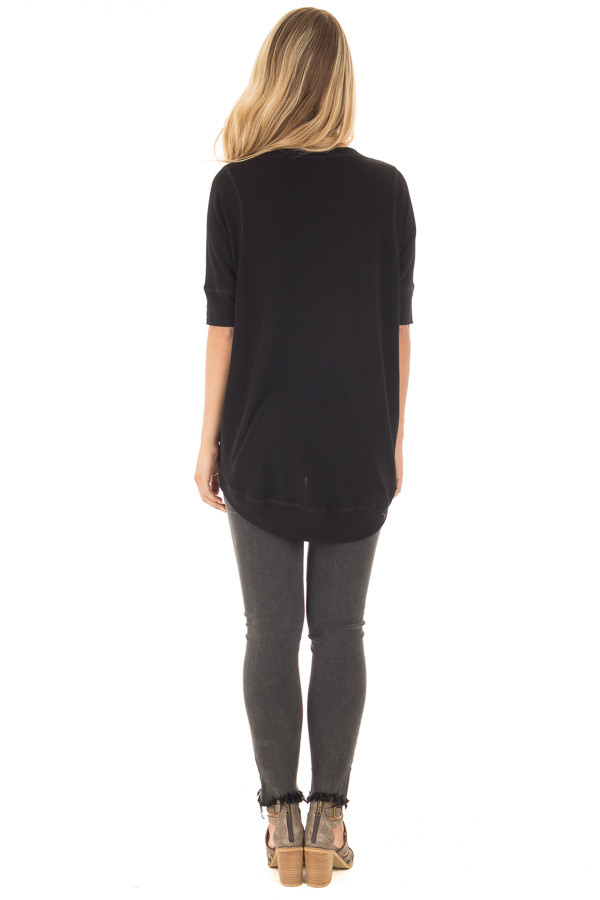 Black Half Sleeve Dolman Sweater with Rounded Hem back full body