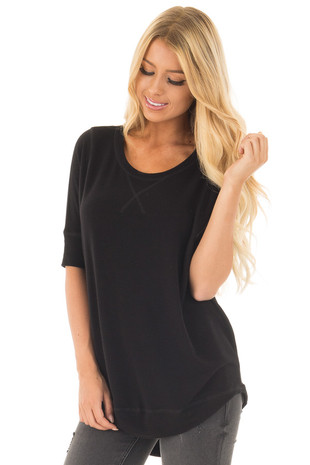 Black Half Sleeve Dolman Sweater with Rounded Hem front close up