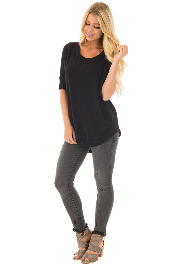 Black Half Sleeve Dolman Sweater with Rounded Hem front full body