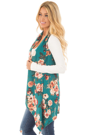 Teal Floral Print Long Asymmetrical Vest side close up