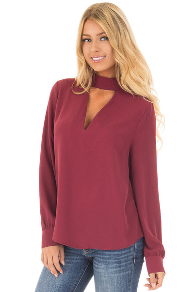Wine Long Sleeve Blouse with Keyhole Mock Neckline front close up