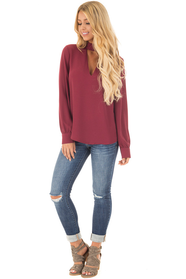 Wine Long Sleeve Blouse with Keyhole Mock Neckline front full body