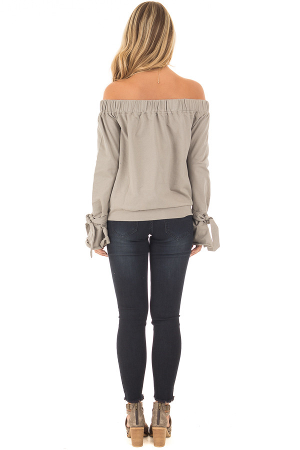 Khaki Off Shoulder Top with Tied Front and Sleeves back full body