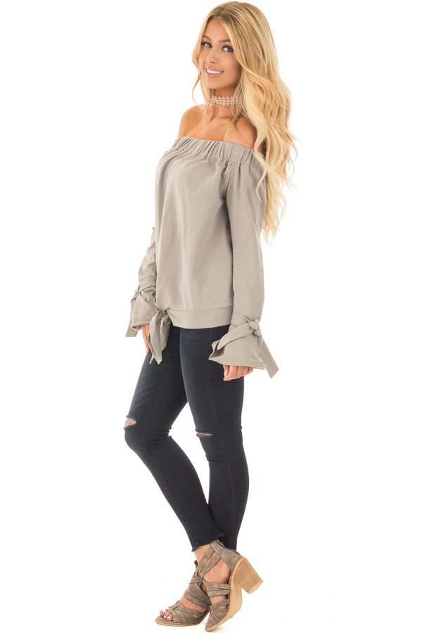 Khaki Off Shoulder Top with Tied Front and Sleeves side full body