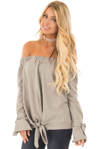 Khaki Off Shoulder Top with Tied Front and Sleeves front close up