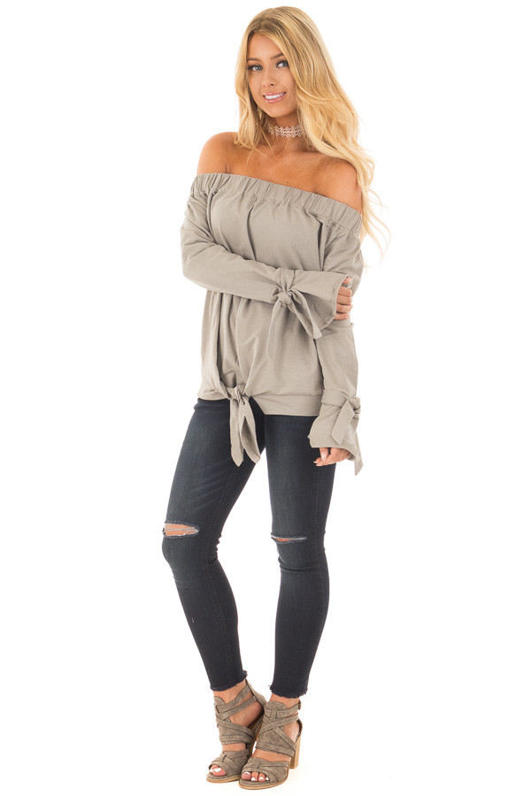 Khaki Off Shoulder Top with Tied Front and Sleeves front full body