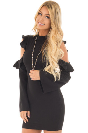 Black Bodycon Dress with Cold Shoulder Ruffle Long Sleeves front close up