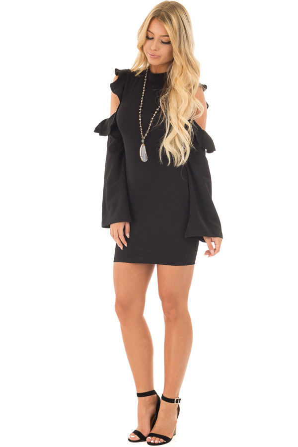 Black Bodycon Dress with Cold Shoulder Ruffle Long Sleeves front full body