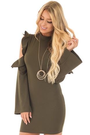 Olive Bodycon Dress with Cold Shoulder Ruffle Long Sleeves front close up