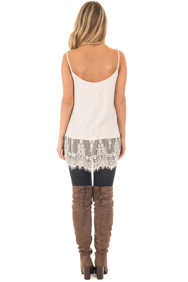 Beige Tank Top with Detailed Lace Trim back full body