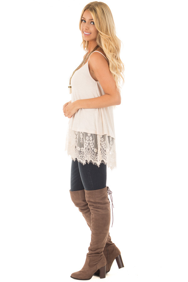 Beige Tank Top with Detailed Lace Trim side full body