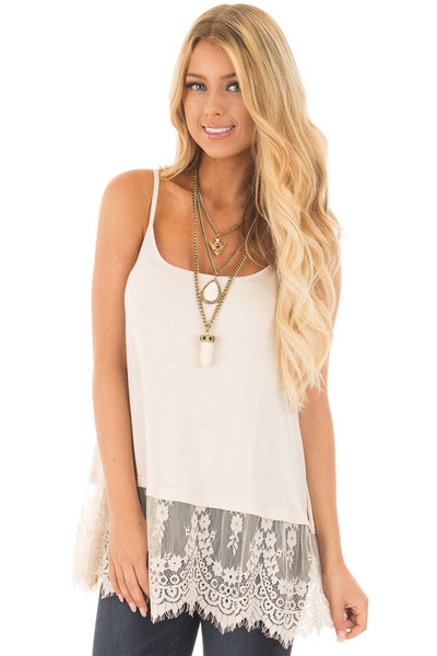 Beige Tank Top with Detailed Lace Trim front close up
