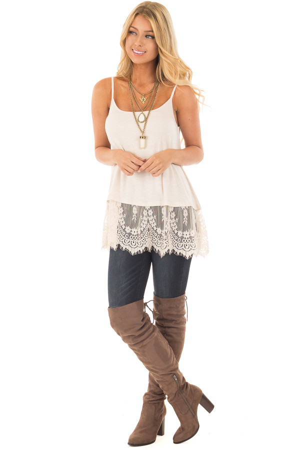 Beige Tank Top with Detailed Lace Trim front full body