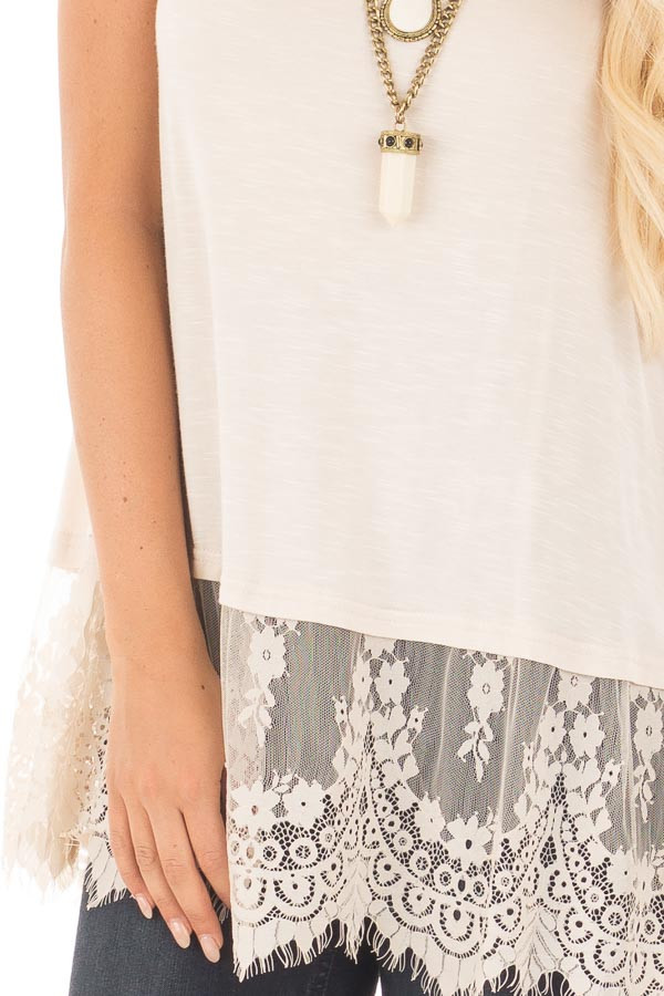 Beige Tank Top with Detailed Lace Trim detail