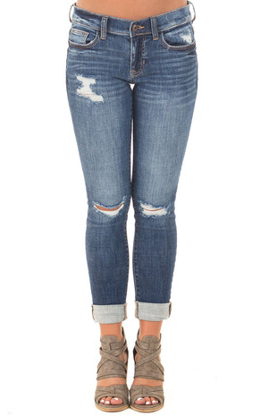 Medium Dark Wash Cropped Skinny Jeans front view