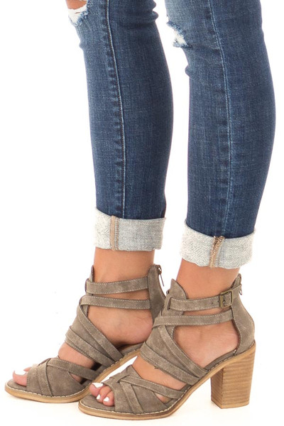 Grey Faux Leather Strappy Open Toe Bootie side view