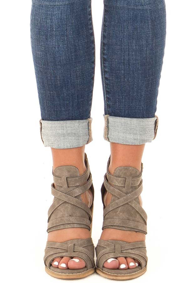 Grey Faux Leather Strappy Open Toe Bootie front view