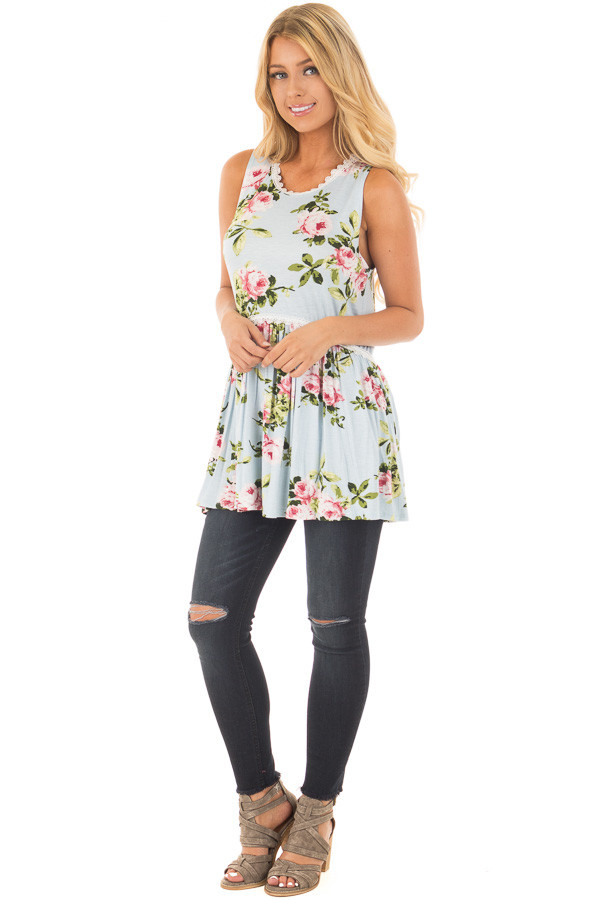 Light Blue Floral Print Babydoll Tank Top with Lace Trim front full body