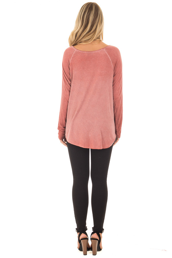 Brick Red Crossover Drape Long Sleeve Top with X Neckline back full body