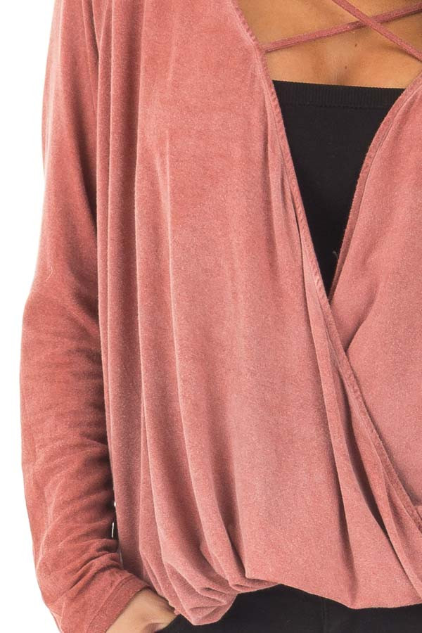 Brick Red Crossover Drape Long Sleeve Top with X Neckline detail